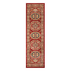 "Ghazni Polypropylene Rug, Red, 2'3""x7'6"" Runner"