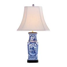 "Blue and White Rectangular Floral Porcelain Vase Table Lamp 28"""