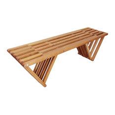 White Oak Backless Garden Bench by GloDea, Clear Finish, L54 X W15 X H17