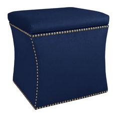 Winston Nail Button Storage Ottoman, Velvet Navy