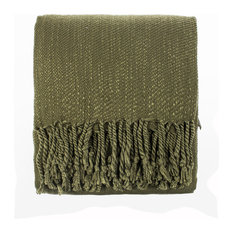 "Woven Classic Fringe Throw Blanket - 50""W x 60""L , Green"