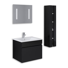 Kokss Wall Mount High Gloss Vanity Set, Black, 24""