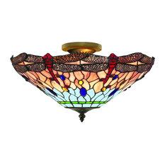 Tiffany Traditional Semi Flush Ceiling Light