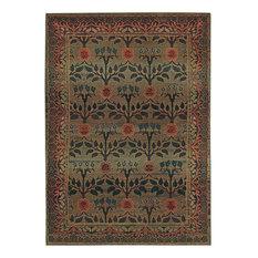 "Kharma Green Brown Floral Transitional Rug, 6'7""x9'1"""
