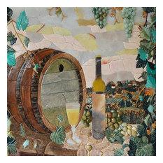 "Mozaico - Mosaic Kitchen Backsplash, Winery Scene, 35""x35"" - Tile Murals"