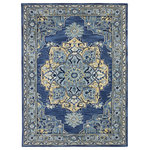 "Amer - Boho Hand Tufted Wool Transitional Rug, Steel Blue, 7'6""x9'6"" - The Boho Hand Tufted Wool Transitional Rug features splashes of both floral and geometric designs. These new area rugs designs are created with jeweled toned colors. Boho Hand Tufted Wool Transitional Rug possesses fresh and modern color palettes while blending together classic and contemporary styles.The Boho area rugs can be used in today's family rooms, living rooms, and dining rooms.They can also offer a stunning look in any bedroom. The kaleidoscope of colors in these area rugs will offer chic transitional designs to your interior room settings."