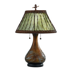 Highland Two Light Table Lamp Bronze Soft Green Mica Shade