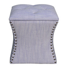 New Pacific Direct Inc.   Amelia Nailhead Storage Ottoman, Blue Stripes    Footstools And