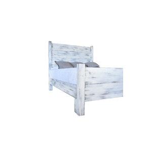 Shiplap Platform Bed - Distressed White, King