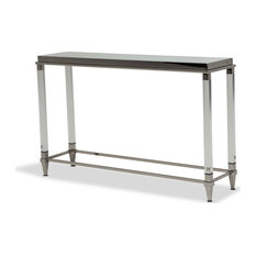 State St. Console Table With Glossy White Glass Top StainlessSteel
