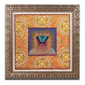 Butterfly Gold Blue Framed Painting Print Contemporary Prints And Posters By Marmont Hill