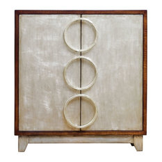 Midcentury Modern Slim Silver Accent Chest, Circles Rings Shelves Retro