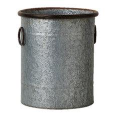 "Zinc Cylinder Pot, 15"""