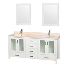 "Lucy72"" White Double Vanity, Ivory Marble Top, 24"" Mirrors, Undermount Square"