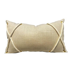 Lumbar Linen Pillow Cover With Cotton Rope Accent