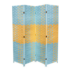 "Beach Blue/Natural Paper Straw Weave 4-Panel Screen on 2""H Legs, Handcrafted"
