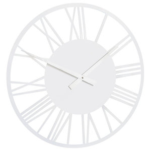 RocoVerre Acrylic Gloss Skeleton Roman Clock, Small, White