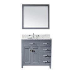 "Virtu Caroline Parkway 36"" Single Bathroom Vanity, Gray With Faucet and Mirror"