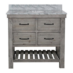 Single Fir Sink Vanity Driftwood With Carrara White Marble Top, Gray, 36""