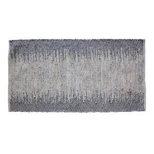 Ellen Steel Grey Leather Rug, 70x140 cm