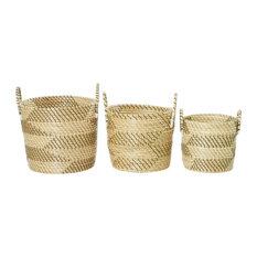 Set of 3 Beige Sea Grass Modern Storage Basket