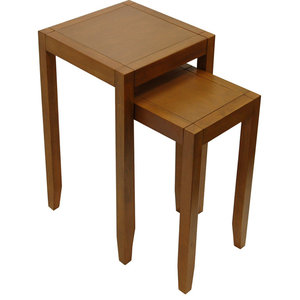 Anywhere Solid Wood Nest of 2 Side Tables, Walnut Effect