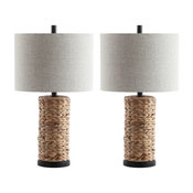 """Elicia 25"""" Sea Grass Led Table Lamp, Natural, Set of 2"""