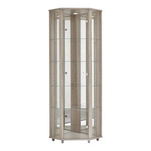 Corner Display Cabinet With LED, 1 Door, 4 Shelves, Oak
