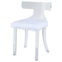 ACME Bradley Shaggy Fur Dining Side Chair in White