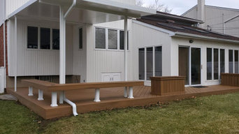 WRISCO AWNING OVER NEWLY FINISHED TREX DECK 10ft over Deck 12' x 20'