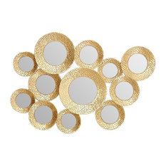 Marcia Multicircle Wall Mirror, Hammered Gold, 90x75 cm