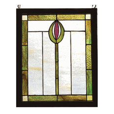 "14""Wx17""H Spear Wood Frame Stained Glass Window"