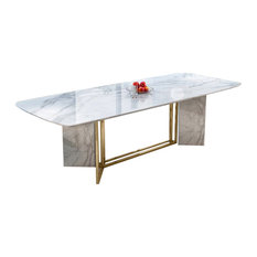 Modern Stylish White Faux Marble Dining Table Rectangular Table in Brushed Gold,