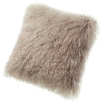 """Fibre by Auskin - Tibetan Lambskin 16"""" Cushion, Dune - Tibetan lambskin cushions are the epitome of luxury. Soft and textural, these cushions are an amazing accent to any room of your home. Backed with a cotton velvet fabric with a zipper and filled with a polyester insert."""