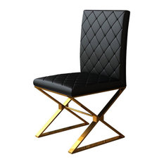 Upholstered Black PU Leather Dining Chair Set of 2 Stainless Steel Leg Gold