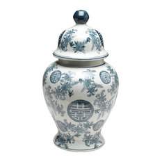 Blue and White Ginger Jar With Lid