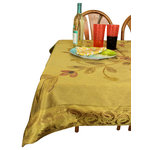 """Banarsi Designs - Hand Painted Deluxe Square Tablecloth, Dark Gold, 43x86"""" - Discover our exclusive, luxurious, and bold hand painted tablecloth from Banarsi Designs."""
