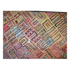 Mogul Interior - Consigned Kuch Embriodry Wall Hanging Bedroom Decor Boho Gypsy Throw - Tapestries