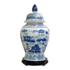 18 in. High Blue & White Landscape Porcelain Temple Jar