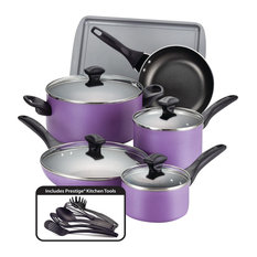 Farberware Dishwasher Safe Nonstick Aluminum 15-Piece Cookware Set, Purple