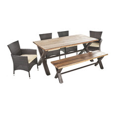 6-Piece Trellis Outdoor Acacia Wood Dining Set With Wicker Dining Chairs