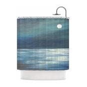 "Cyndi Steen ""A Walk In The Moonlight"" Blue White Shower Curtain"