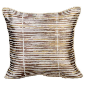 "Stripes 12""x12"" Jacquard Gold Pillows Cover, Spacing Out"
