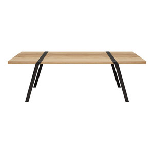 8-Seater Solid Oak Dining Table, Black