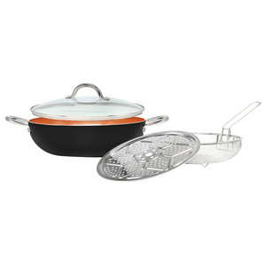 Cookware Copper Set, 4 Piece Set, Black