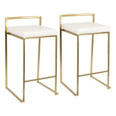 Fuji Counter Stool, Set of 2, Gold, White