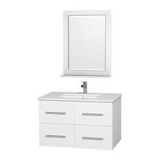 "Centra 36"" Single Matte White Vanity, White Top, Square Sink, 24"" Mirror"