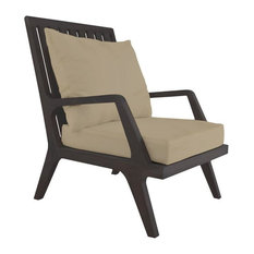 Teak Patio Lounge Chair Cushions in Cream