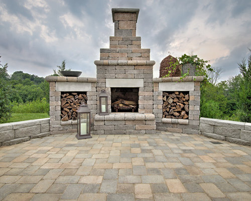 Serenity Fireplace and Stacker Wood Boxes Outdoor Living Area - Kentucky - Outdoor Fireplaces
