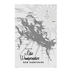 "Lakebound Lake Winnipesaukee Nh Gray Art Print, 24""x36"""